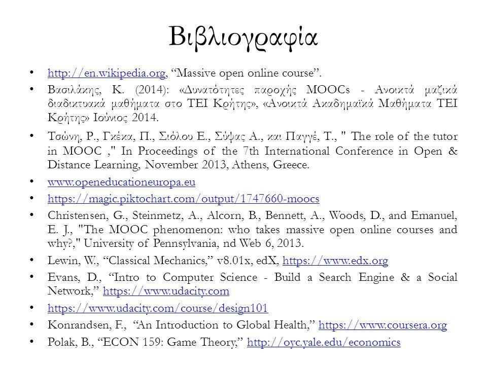 Βιβλιογραφία http://en.wikipedia.org, Massive open online course .