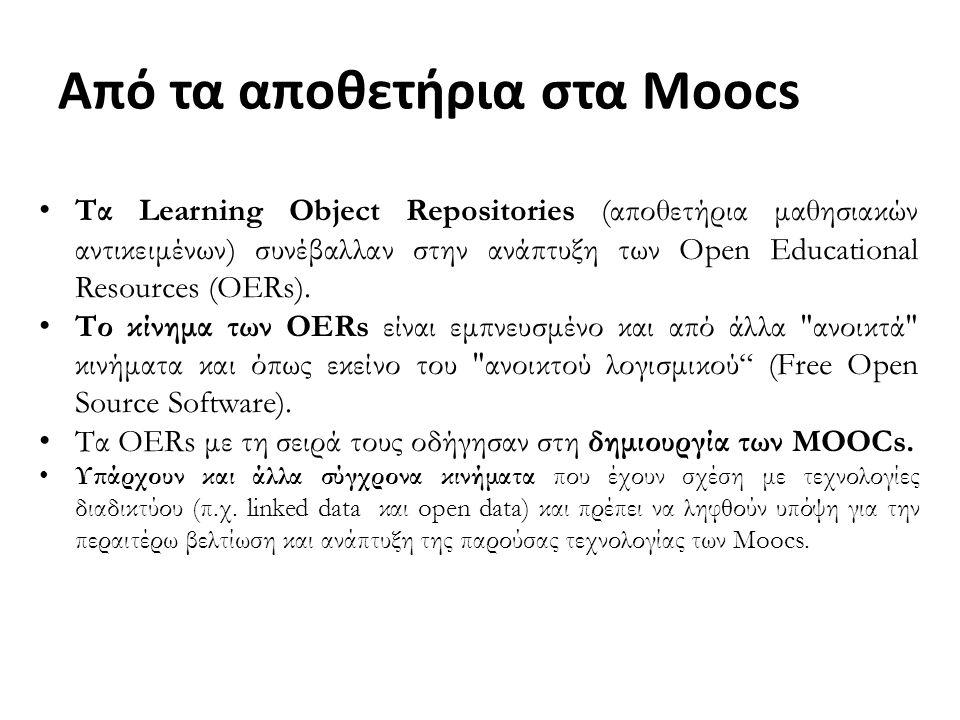 Τα Learning Object Repositories (αποθετήρια μαθησιακών αντικειμένων) συνέβαλλαν στην ανάπτυξη των Open Educational Resources (OERs).