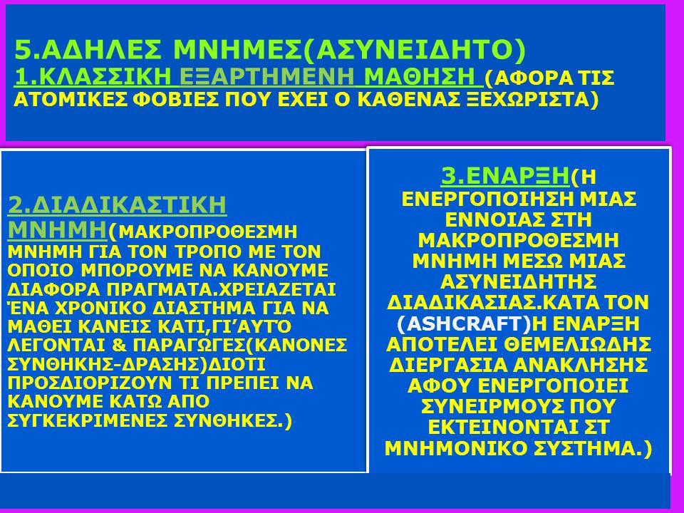 5.ΑΔΗΛΕΣ ΜΝΗΜΕΣ(ΑΣΥΝΕΙΔΗΤΟ) 1.ΚΛΑΣΣΙΚΗ ΕΞΑΡΤΗΜΕΝΗ ΜΑΘΗΣΗ (ΑΦΟΡΑ ΤΙΣ ΑΤΟΜΙΚΕΣ ΦΟΒΙΕΣ ΠΟΥ ΕΧΕΙ Ο ΚΑΘΕΝΑΣ ΞΕΧΩΡΙΣΤΑ) 2.ΔΙΑΔΙΚΑΣΤΙΚΗ ΜΝΗΜΗ ( ΜΑΚΡΟΠΡΟΘΕΣΜΗ ΜΝΗΜΗ ΓΙΑ ΤΟΝ ΤΡΟΠΟ ΜΕ ΤΟΝ ΟΠΟΙΟ ΜΠΟΡΟΥΜΕ ΝΑ ΚΑΝΟΥΜΕ ΔΙΑΦΟΡΑ ΠΡΑΓΜΑΤΑ.ΧΡΕΙΑΖΕΤΑΙ ΈΝΑ ΧΡΟΝΙΚΟ ΔΙΑΣΤΗΜΑ ΓΙΑ ΝΑ ΜΑΘΕΙ ΚΑΝΕΙΣ ΚΑΤΙ,ΓΙ'ΑΥΤΌ ΛΕΓΟΝΤΑΙ & ΠΑΡΑΓΩΓΕΣ(ΚΑΝΟΝΕΣ ΣΥΝΘΗΚΗΣ-ΔΡΑΣΗΣ)ΔΙΟΤΙ ΠΡΟΣΔΙΟΡΙΖΟΥΝ ΤΙ ΠΡΕΠΕΙ ΝΑ ΚΑΝΟΥΜΕ ΚΑΤΩ ΑΠΟ ΣΥΓΚΕΚΡΙΜΕΝΕΣ ΣΥΝΘΗΚΕΣ.) 3.ΕΝΑΡΞΗ (Η ΕΝΕΡΓΟΠΟΙΗΣΗ ΜΙΑΣ ΕΝΝΟΙΑΣ ΣΤΗ ΜΑΚΡΟΠΡΟΘΕΣΜΗ ΜΝΗΜΗ ΜΕΣΩ ΜΙΑΣ ΑΣΥΝΕΙΔΗΤΗΣ ΔΙΑΔΙΚΑΣΙΑΣ.ΚΑΤΑ ΤΟΝ (ASHCRAFT)H ΕΝΑΡΞΗ ΑΠΟΤΕΛΕΙ ΘΕΜΕΛΙΩΔΗΣ ΔΙΕΡΓΑΣΙΑ ΑΝΑΚΛΗΣΗΣ ΑΦΟΥ ΕΝΕΡΓΟΠΟΙΕΙ ΣΥΝΕΙΡΜΟΥΣ ΠΟΥ ΕΚΤΕΙΝΟΝΤΑΙ ΣΤ ΜΝΗΜΟΝΙΚΟ ΣΥΣΤΗΜΑ.)