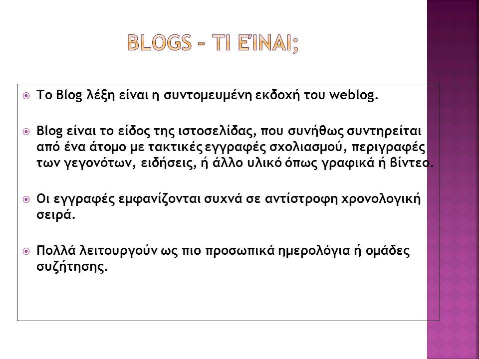  Το Βlog λέξη είναι η συντομευμένη εκδοχή του weblog.