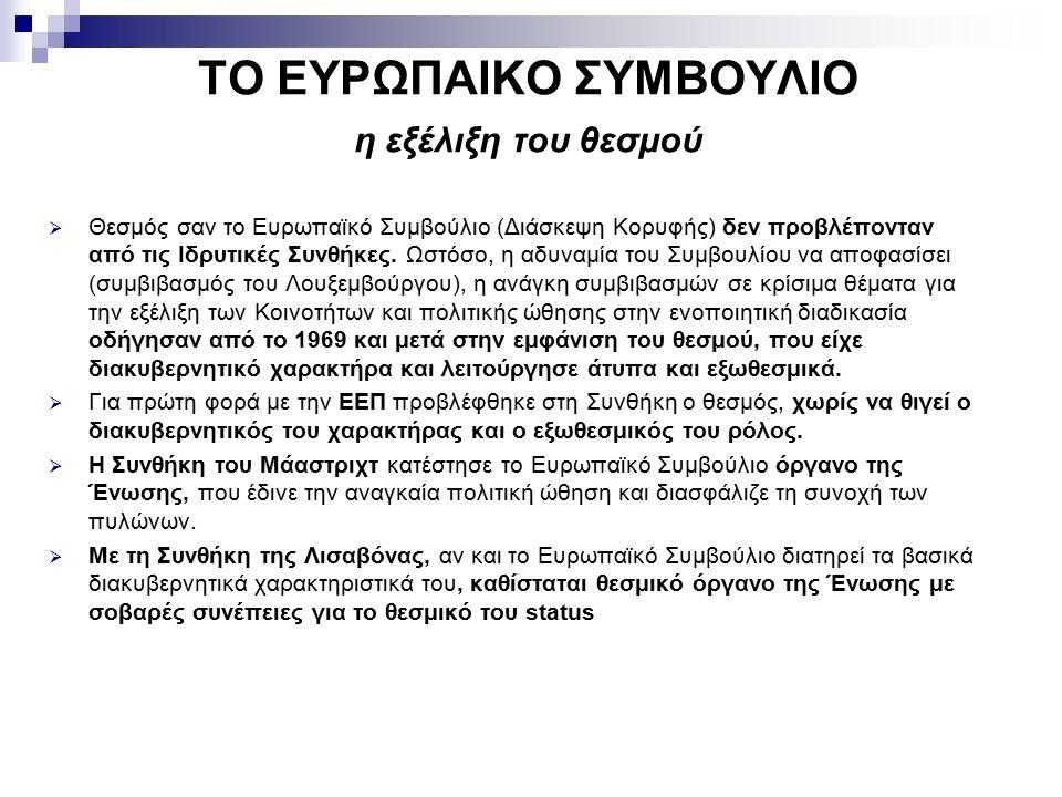 ΤΟ ΕΥΡΩΠΑΙΚΟ ΣΥΜΒΟΥΛΙΟ η εξέλιξη του θεσμού  Θεσμός σαν το Ευρωπαϊκό Συμβούλιο (Διάσκεψη Κορυφής) δεν προβλέπονταν από τις Ιδρυτικές Συνθήκες.