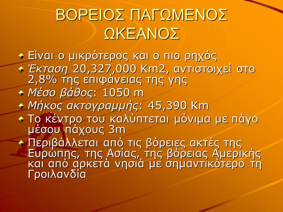 ΒΟΡΕΙΟΣ ΠΑΓΩΜΕΝΟΣ ΩΚΕΑΝΟΣ Είναι ο μικρότερος και ο πιο ρηχός Έκταση 20,327,000 Km2, αντιστοιχεί στο 2,8% της επιφάνειας της γης Μέσο βάθος: 1050 m Μήκος ακτογραμμής: 45,390 Km To κέντρο του καλύπτεται μόνιμα με πάγο μέσου πάχους 3m Περιβάλλεται από τις βόρειες ακτές της Ευρώπης, της Ασίας, της βόρειας Αμερικής και από αρκετά νησιά με σημαντικότερο τη Γροιλανδία