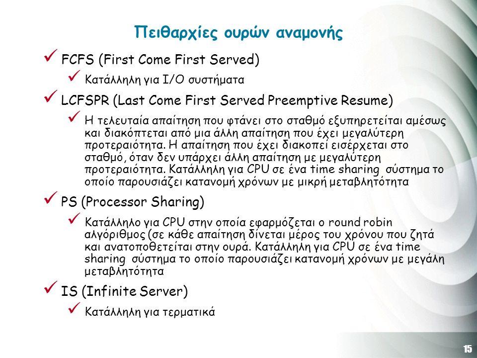 15 Πειθαρχίες ουρών αναμονής FCFS (First Come First Served) Κατάλληλη για Ι/Ο συστήματα LCFSPR (Last Come First Served Preemptive Resume) Η τελευταία απαίτηση που φτάνει στο σταθμό εξυπηρετείται αμέσως και διακόπτεται από μια άλλη απαίτηση που έχει μεγαλύτερη προτεραιότητα.