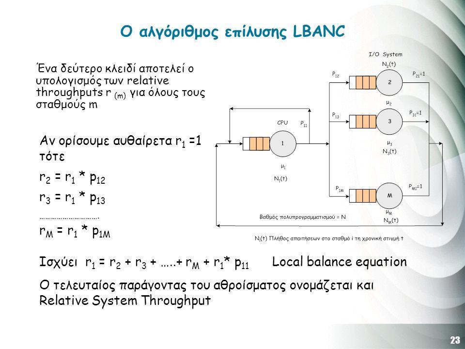 23 O αλγόριθμος επίλυσης LBANC Ένα δεύτερο κλειδί αποτελεί ο υπολογισμός των relative throughputs r (m) για όλους τους σταθμούς m Αν ορίσουμε αυθαίρετα r 1 =1 τότε r 2 = r 1 * p 12 r 3 = r 1 * p 13 ………………………….