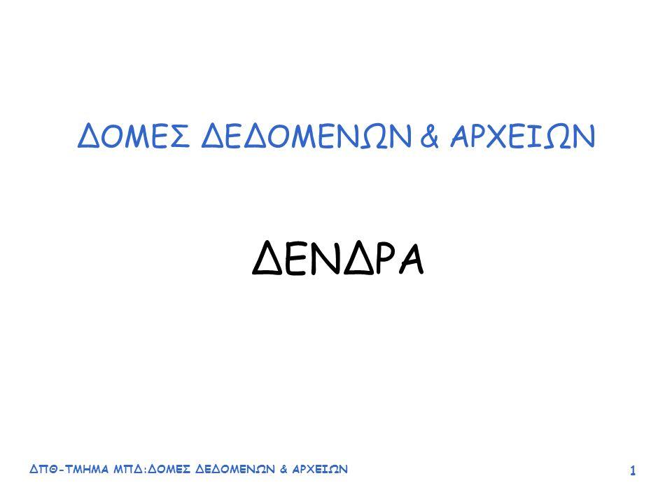 ΔΠΘ-ΤΜΗΜΑ ΜΠΔ:ΔΟΜΕΣ ΔΕΔΟΜΕΝΩΝ & ΑΡΧΕΙΩΝ 52 –Αν η τιμή του νέου στοιχείου είναι μικρότερη από την τιμή του τρέχοντα κόμβου η σύγκριση μεταφέρεται στο αριστερό υποδένδρο μέχρι να βρεθεί κενό υποδένδρο (left child==NULL).