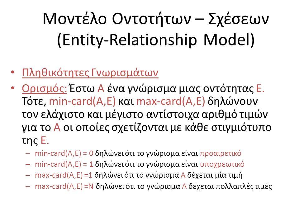 Μοντέλο Οντοτήτων – Σχέσεων (Entity-Relationship Model) Πληθικότητες Γνωρισμάτων Ορισμός: Έστω Α ένα γνώρισμα μιας οντότητας E. Τότε, min-card(A,E) κα