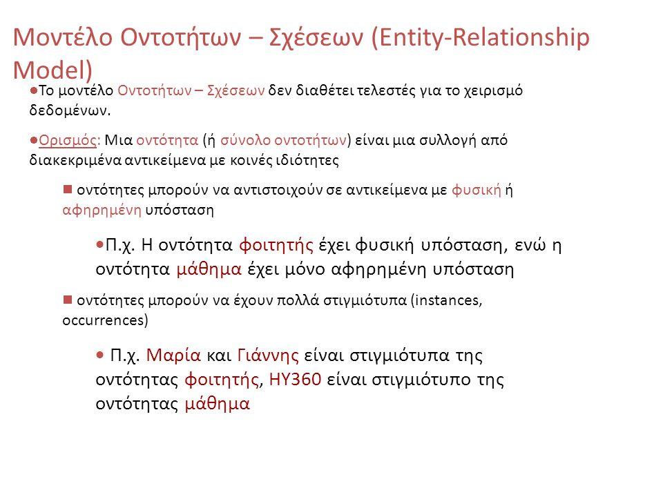 Το μοντέλο Οντοτήτων – Σχέσεων δεν διαθέτει τελεστές για το χειρισμό δεδομένων. Ορισμός: Μια οντότητα (ή σύνολο οντοτήτων) είναι μια συλλογή από διακε