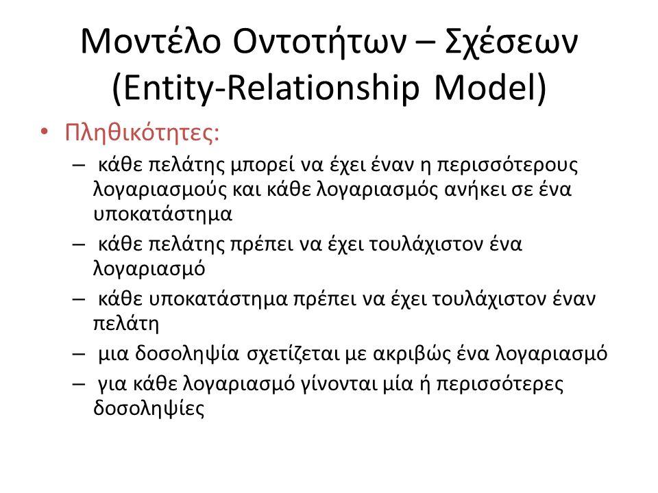 Μοντέλο Οντοτήτων – Σχέσεων (Entity-Relationship Model) Πληθικότητες: – κάθε πελάτης μπορεί να έχει έναν η περισσότερους λογαριασμούς και κάθε λογαρια