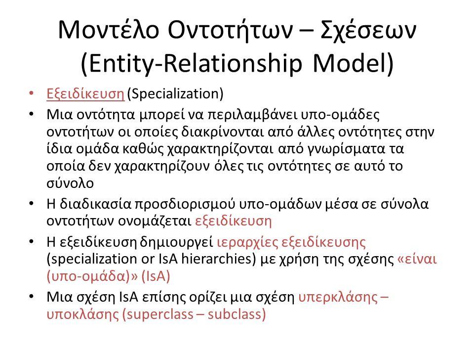 Μοντέλο Οντοτήτων – Σχέσεων (Entity-Relationship Model) Εξειδίκευση (Specialization) Μια οντότητα μπορεί να περιλαμβάνει υπο-ομάδες οντοτήτων οι οποίες διακρίνονται από άλλες οντότητες στην ίδια ομάδα καθώς χαρακτηρίζονται από γνωρίσματα τα οποία δεν χαρακτηρίζουν όλες τις οντότητες σε αυτό το σύνολο Η διαδικασία προσδιορισμού υπο-ομάδων μέσα σε σύνολα οντοτήτων ονομάζεται εξειδίκευση Η εξειδίκευση δημιουργεί ιεραρχίες εξειδίκευσης (specialization or IsA hierarchies) με χρήση της σχέσης «είναι (υπο-ομάδα)» (IsA) Μια σχέση IsA επίσης ορίζει μια σχέση υπερκλάσης – υποκλάσης (superclass – subclass)