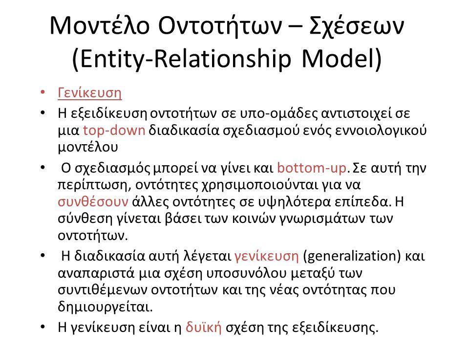 Μοντέλο Οντοτήτων – Σχέσεων (Entity-Relationship Model) Γενίκευση Η εξειδίκευση οντοτήτων σε υπο-ομάδες αντιστοιχεί σε μια top-down διαδικασία σχεδιασ