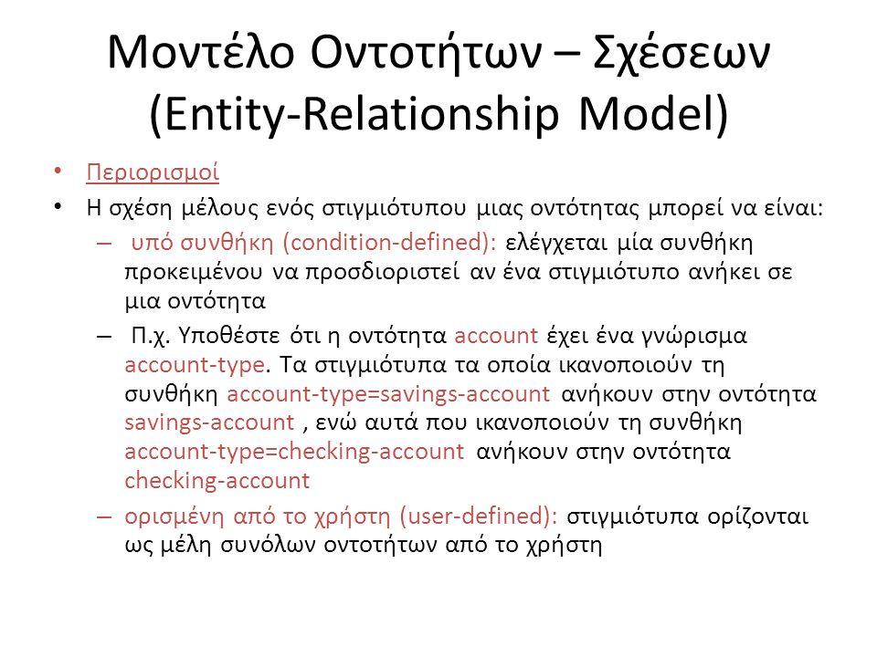 Μοντέλο Οντοτήτων – Σχέσεων (Entity-Relationship Model) Περιορισμοί Η σχέση μέλους ενός στιγμιότυπου μιας οντότητας μπορεί να είναι: – υπό συνθήκη (condition-defined): ελέγχεται μία συνθήκη προκειμένου να προσδιοριστεί αν ένα στιγμιότυπο ανήκει σε μια οντότητα – Π.χ.