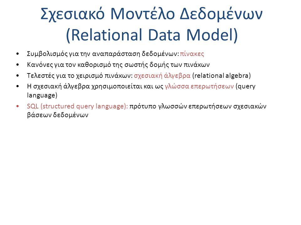 Σχεσιακό Μοντέλο Δεδομένων (Relational Data Model) Συμβολισμός για την αναπαράσταση δεδομένων: πίνακες Κανόνες για τον καθορισμό της σωστής δομής των πινάκων Τελεστές για το χειρισμό πινάκων: σχεσιακή άλγεβρα (relational algebra) Η σχεσιακή άλγεβρα χρησιμοποιείται και ως γλώσσα επερωτήσεων (query language) SQL (structured query language): πρότυπο γλωσσών επερωτήσεων σχεσιακών βάσεων δεδομένων