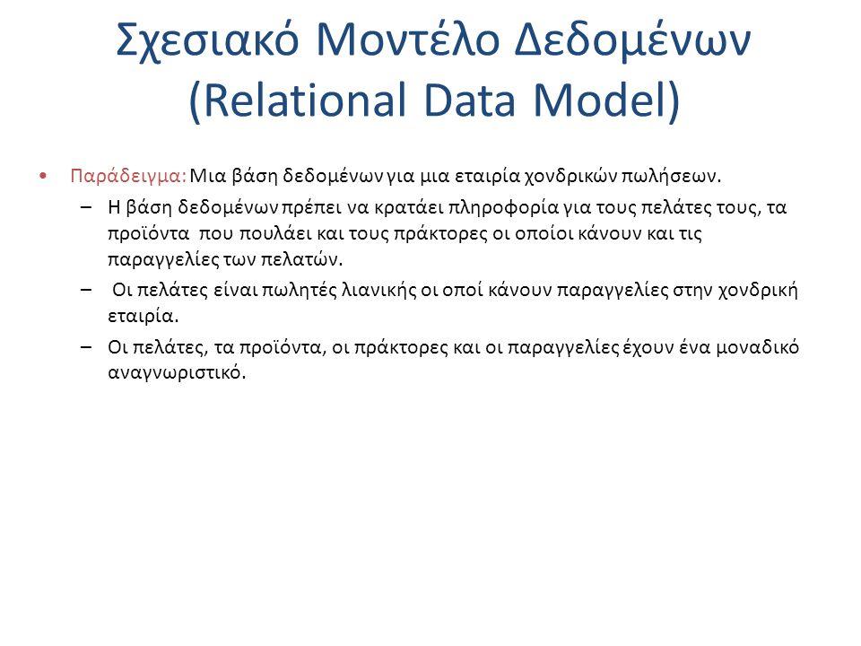 Σχεσιακό Μοντέλο Δεδομένων (Relational Data Model) Παράδειγμα: Μια βάση δεδομένων για μια εταιρία χονδρικών πωλήσεων. –Η βάση δεδομένων πρέπει να κρατ