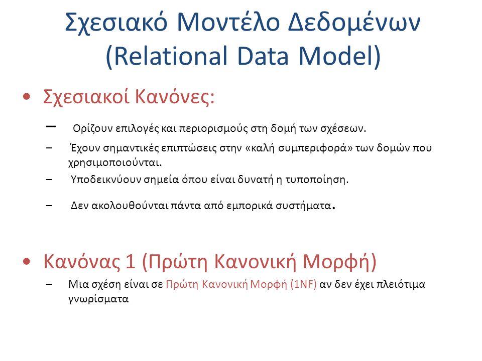 Σχεσιακό Μοντέλο Δεδομένων (Relational Data Model) Σχεσιακοί Κανόνες: – Ορίζουν επιλογές και περιορισμούς στη δομή των σχέσεων. – Έχουν σημαντικές επι