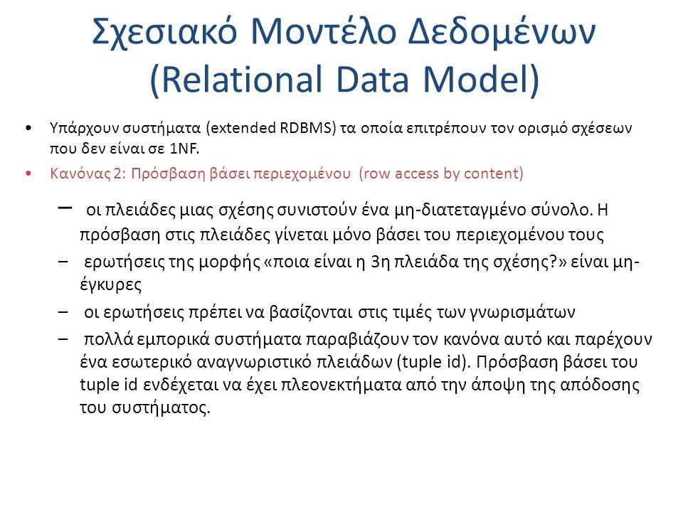 Σχεσιακό Μοντέλο Δεδομένων (Relational Data Model) Υπάρχουν συστήματα (extended RDBMS) τα οποία επιτρέπουν τον ορισμό σχέσεων που δεν είναι σε 1NF. Κα