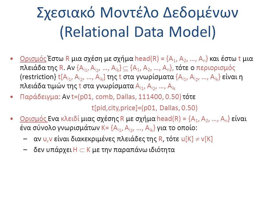 Σχεσιακό Μοντέλο Δεδομένων (Relational Data Model) Ορισμός Έστω R μια σχέση με σχήμα head(R) = {A 1, A 2, …, A n } και έστω t μια πλειάδα της R. Αν {A