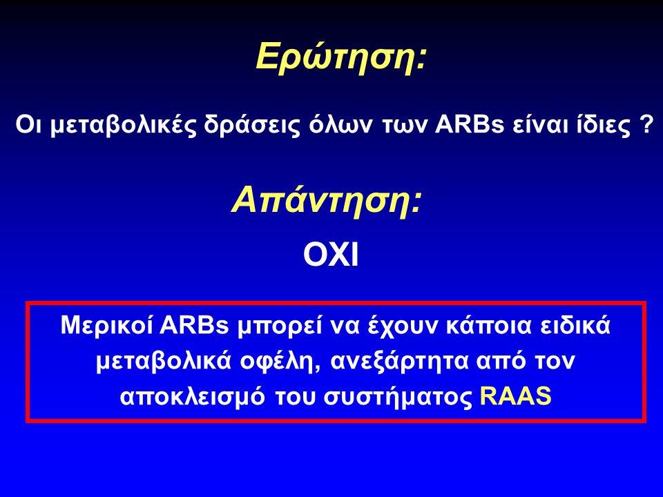 Ανταγωνιστές υποδοχέων αγγειοτασίνης (ARBs) Υπέρταση Αντίσταση Ινσουλίνης Δυσλιπιδαιμία ? ?