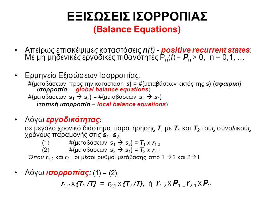 ΕΞΙΣΩΣΕΙΣ ΙΣΟΡΡΟΠΙΑΣ (Balance Equations) Απείρως επισκέψιμες καταστάσεις n(t) - positive recurrent states: Με μη μηδενικές εργοδικές πιθανότητες P n (t) = P n > 0, n = 0,1, … Ερμηνεία Εξισώσεων Ισορροπίας: #{μεταβάσεων προς την κατάσταση s} = #{μεταβάσεων εκτός της s} (σφαιρική ισορροπία – global balance equations) #{μεταβάσεων s 1  s 2 } = #{μεταβάσεων s 2  s 1 } (τοπική ισορροπία – local balance equations) Λόγω εργοδικότητας : σε μεγάλο χρονικό διάστημα παρατήρησης Τ, με Τ 1 και Τ 2 τους συνολικούς χρόνους παραμονής στις s 1, s 2 : (1)#{μεταβάσεων s 1  s 2 } = T 1 x r 1,2 (2) #{μεταβάσεων s 2  s 1 } = T 2 x r 2,1 Όπου r 1,2 και r 2,1 οι μέσοι ρυθμοί μετάβασης από 1  2 και 2  1 Λόγω ισορροπίας: (1) = (2), r 1,2 x {T 1 /Τ} = r 2,1 x {T 2 /Τ}, ή r 1,2 x P 1 = r 2,1 x P 2