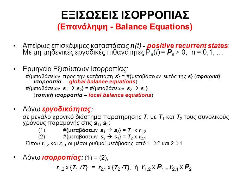 ΟΥΡΑ Μ/Μ1/Ν Επανάληψη - Εξισώσεις Ισορροπίας Συστήματα Μ/Μ/1/Ν με ρυθμούς άφιξης και ρυθμούς εξυπηρέτησης εξαρτώμενους από τον αριθμό των πελατών στο σύστημα (από την παρούσα κατάσταση του συστήματος) (State Dependent M/M/1/Ν Queues) λnλn μnμn Local Balance Equation λ 0 P 0 = μ 1 P 1 λ i-1 P i-1 = μ i P i, i = 1, 2, …N Global Balance Equation (λ i +μ i )P i = λ i-1 P i-1 + μ i+1 P i+1, i = 0, 1,…, N Κανονικοποίηση Εργοδικών Πιθανοτήτων P 0 +…+ P Ν = 1