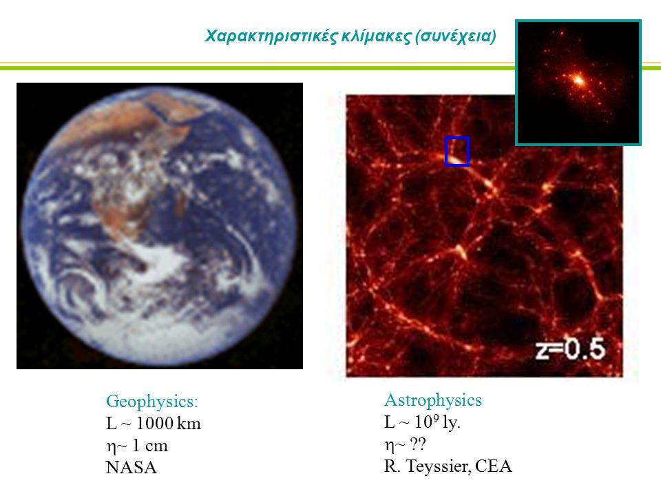 Χαρακτηριστικές κλίμακες (συνέχεια) Geophysics: L ~ 1000 km  ~ 1 cm NASA Astrophysics L ~ 10 9 ly.