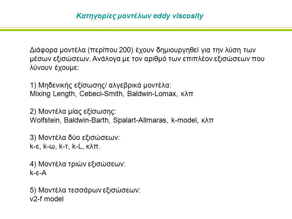 Κατηγορίες μοντέλων eddy viscosity Διάφορα μοντέλα (περίπου 200) έχουν δημιουργηθεί για την λύση των μέσων εξισώσεων.
