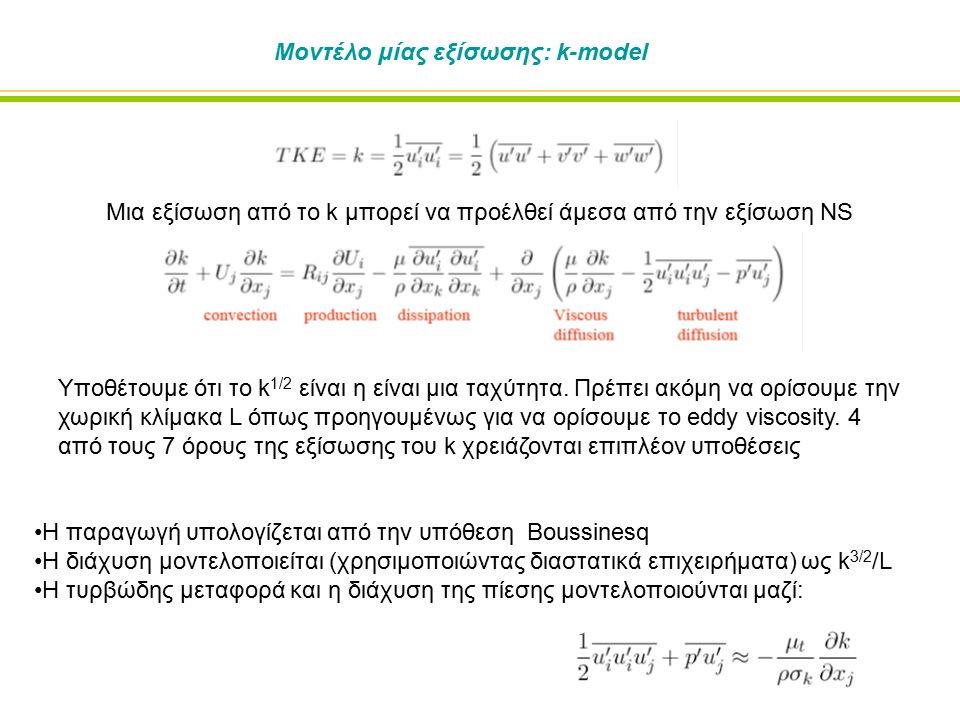 Μοντέλο μίας εξίσωσης: k-model Μια εξίσωση από το k μπορεί να προέλθεί άμεσα από την εξίσωση NS Υποθέτουμε ότι το k 1/2 είναι η είναι μια ταχύτητα.