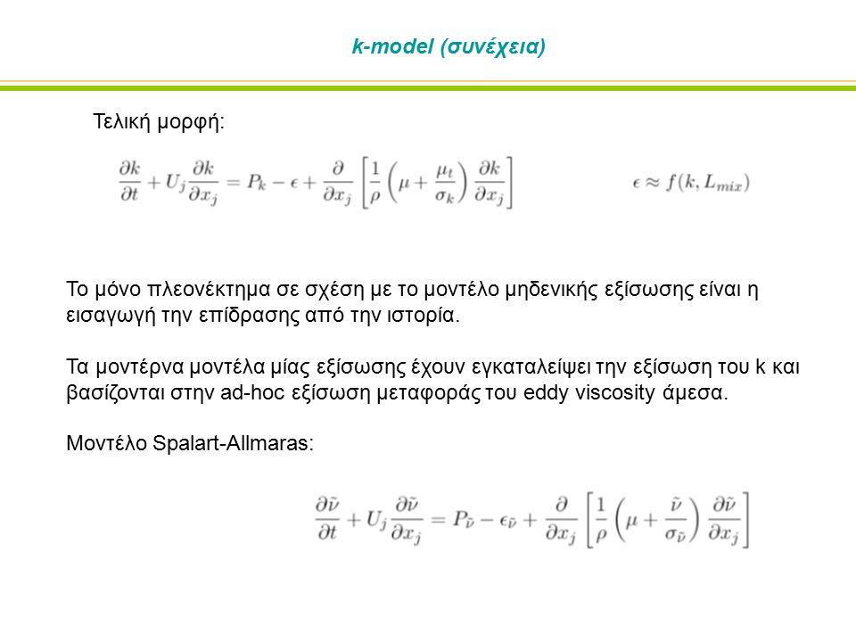 k-model (συνέχεια) Το μόνο πλεονέκτημα σε σχέση με το μοντέλο μηδενικής εξίσωσης είναι η εισαγωγή την επίδρασης από την ιστορία.