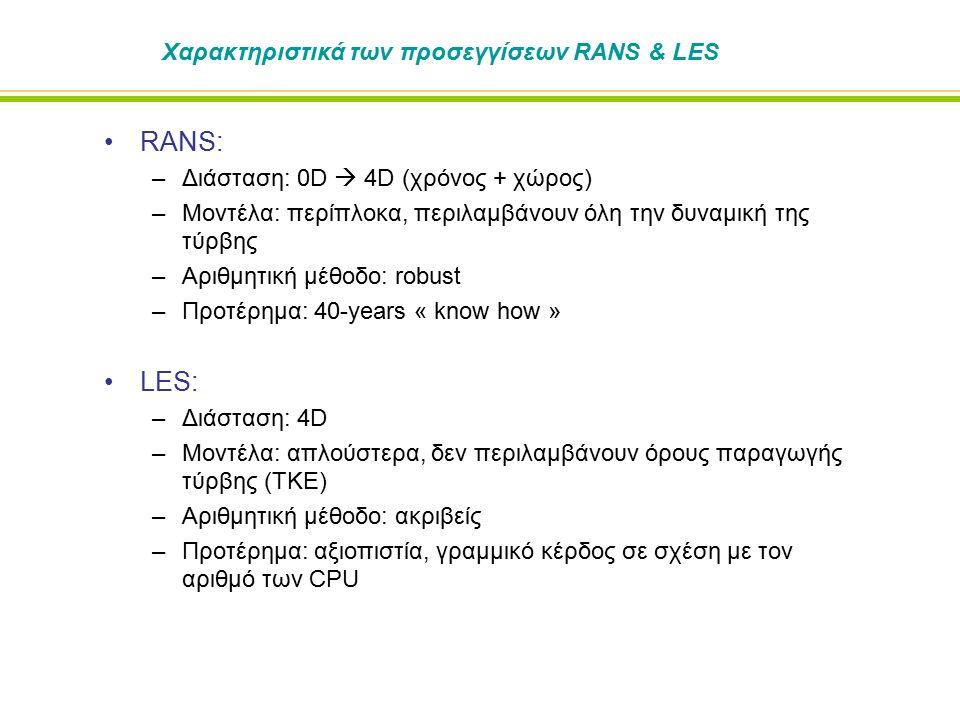Χαρακτηριστικά των προσεγγίσεων RANS & LES RANS: –Διάσταση: 0D  4D (χρόνος + χώρος) –Μοντέλα: περίπλοκα, περιλαμβάνουν όλη την δυναμική της τύρβης –Αριθμητική μέθοδο: robust –Προτέρημα: 40-years « know how » LES: –Διάσταση: 4D –Μοντέλα: απλούστερα, δεν περιλαμβάνουν όρους παραγωγής τύρβης (TKE) –Αριθμητική μέθοδο: ακριβείς –Προτέρημα: αξιοπιστία, γραμμικό κέρδος σε σχέση με τον αριθμό των CPU