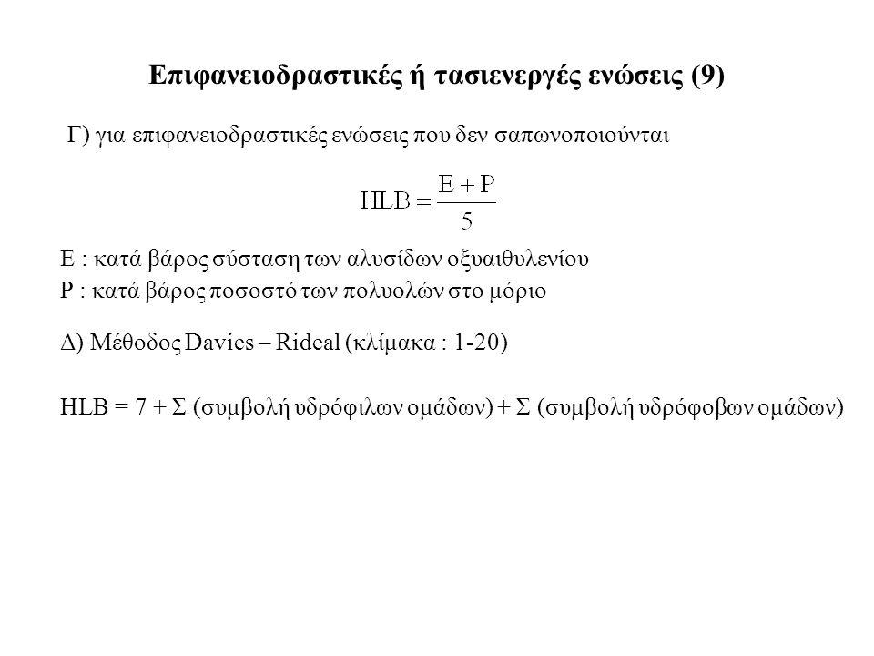 Γ) για επιφανειοδραστικές ενώσεις που δεν σαπωνοποιούνται Επιφανειοδραστικές ή τασιενεργές ενώσεις (9) Ε : κατά βάρος σύσταση των αλυσίδων οξυαιθυλενίου P : κατά βάρος ποσοστό των πολυολών στο μόριο Δ) Μέθοδος Davies – Rideal (κλίμακα : 1-20) HLB = 7 + Σ (συμβολή υδρόφιλων ομάδων) + Σ (συμβολή υδρόφοβων ομάδων)