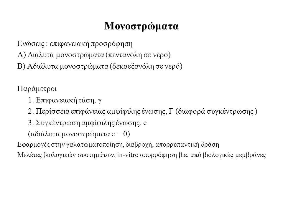 Μονοστρώματα Ενώσεις : επιφανειακή προσρόφηση Α) Διαλυτά μονοστρώματα (πεντανόλη σε νερό) Β) Αδιάλυτα μονοστρώματα (δεκαεξανόλη σε νερό) Παράμετροι 1.