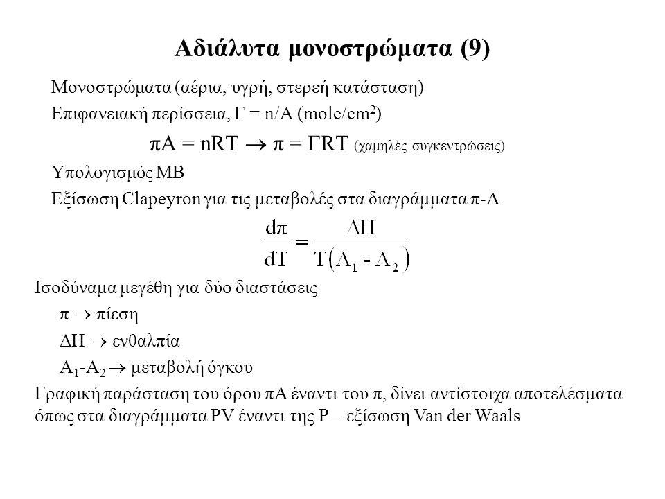 Μονοστρώματα (αέρια, υγρή, στερεή κατάσταση) Επιφανειακή περίσσεια, Γ = n/A (mole/cm 2 ) πΑ = nRT  π = ΓRT (χαμηλές συγκεντρώσεις) Υπολογισμός ΜΒ Εξίσωση Clapeyron για τις μεταβολές στα διαγράμματα π-Α Αδιάλυτα μονοστρώματα (9) Ισοδύναμα μεγέθη για δύο διαστάσεις π  πίεση ΔΗ  ενθαλπία Α 1 -Α 2  μεταβολή όγκου Γραφική παράσταση του όρου πΑ έναντι του π, δίνει αντίστοιχα αποτελέσματα όπως στα διαγράμματα PV έναντι της P – εξίσωση Van der Waals