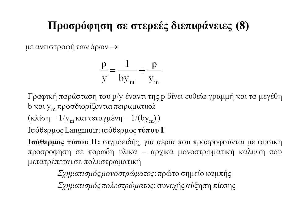 με αντιστροφή των όρων  Προσρόφηση σε στερεές διεπιφάνειες (8) Γραφική παράσταση του p/y έναντι της p δίνει ευθεία γραμμή και τα μεγέθη b και y m προσδιορίζονται πειραματικά (κλίση = 1/y m και τεταγμένη = 1/(by m ) ) Ισόθερμος Langmuir: ισόθερμος τύπου Ι Ισόθερμος τύπου ΙΙ: σιγμοειδής, για αέρια που προσροφούνται με φυσική προσρόφηση σε πορώδη υλικά – αρχικά μονοστρωματική κάλυψη που μετατρέπεται σε πολυστρωματική Σχηματισμός μονοστρώματος: πρώτο σημείο καμπής Σχηματισμός πολυστρώματος: συνεχής αύξηση πίεσης