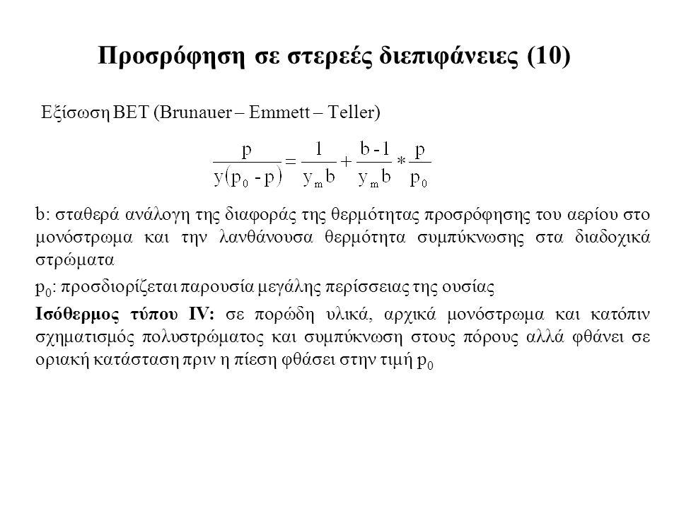 Εξίσωση BET (Brunauer – Emmett – Teller) Προσρόφηση σε στερεές διεπιφάνειες (10) b: σταθερά ανάλογη της διαφοράς της θερμότητας προσρόφησης του αερίου στο μονόστρωμα και την λανθάνουσα θερμότητα συμπύκνωσης στα διαδοχικά στρώματα p 0 : προσδιορίζεται παρουσία μεγάλης περίσσειας της ουσίας Ισόθερμος τύπου ΙV: σε πορώδη υλικά, αρχικά μονόστρωμα και κατόπιν σχηματισμός πολυστρώματος και συμπύκνωση στους πόρους αλλά φθάνει σε οριακή κατάσταση πριν η πίεση φθάσει στην τιμή p 0