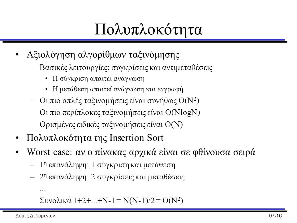 Δομές Δεδομένων07-16 Πολυπλοκότητα Αξιολόγηση αλγορίθμων ταξινόμησης –Βασικές λειτουργίες: συγκρίσεις και αντιμεταθέσεις Η σύγκριση απαιτεί ανάγνωση Η μετάθεση απαιτεί ανάγνωση και εγγραφή –Οι πιο απλές ταξινομήσεις είναι συνήθως O(N 2 ) –Οι πιο περίπλοκες ταξινομήσεις είναι O(NlοgN) –Ορισμένες ειδικές ταξινομήσεις είναι O(N) Πολυπλοκότητα της Insertion Sort Worst case: αν ο πίνακας αρχικά είναι σε φθίνουσα σειρά –1 η επανάληψη: 1 σύγκριση και μετάθεση –2 η επανάληψη: 2 συγκρίσεις και μεταθέσεις –...