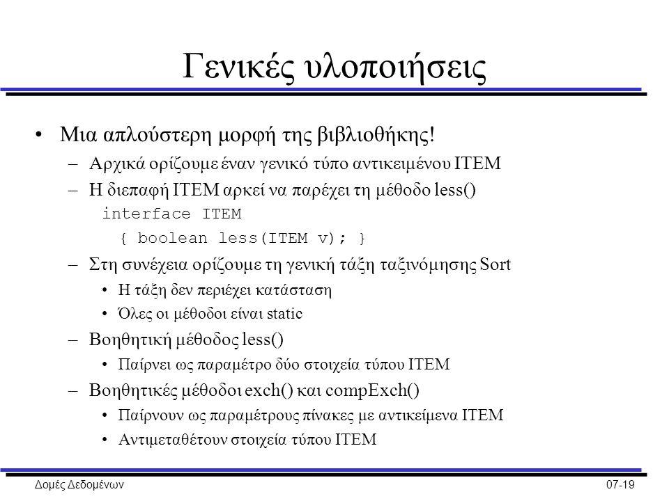 Δομές Δεδομένων07-19 Γενικές υλοποιήσεις Μια απλούστερη μορφή της βιβλιοθήκης.