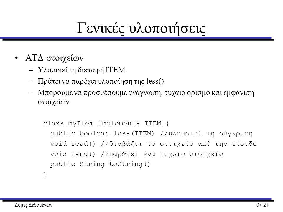 Δομές Δεδομένων07-21 Γενικές υλοποιήσεις ΑΤΔ στοιχείων –Υλοποιεί τη διεπαφή ITEM –Πρέπει να παρέχει υλοποίηση της less() –Μπορούμε να προσθέσουμε ανάγνωση, τυχαίο ορισμό και εμφάνιση στοιχείων class myItem implements ITEM { public boolean less(ITEM) //υλοποιεί τη σύγκριση void read() //διαβάζει το στοιχείο από την είσοδο void rand() //παράγει ένα τυχαίο στοιχείο public String toString() }
