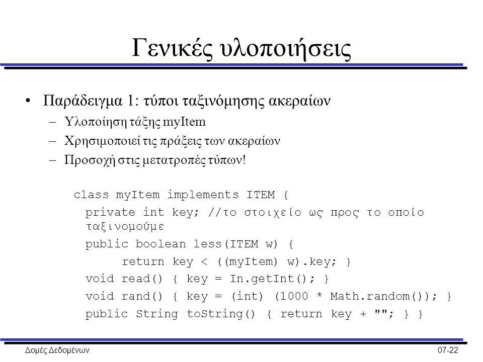 Δομές Δεδομένων07-22 Γενικές υλοποιήσεις Παράδειγμα 1: τύποι ταξινόμησης ακεραίων –Υλοποίηση τάξης myItem –Χρησιμοποιεί τις πράξεις των ακεραίων –Προσοχή στις μετατροπές τύπων.