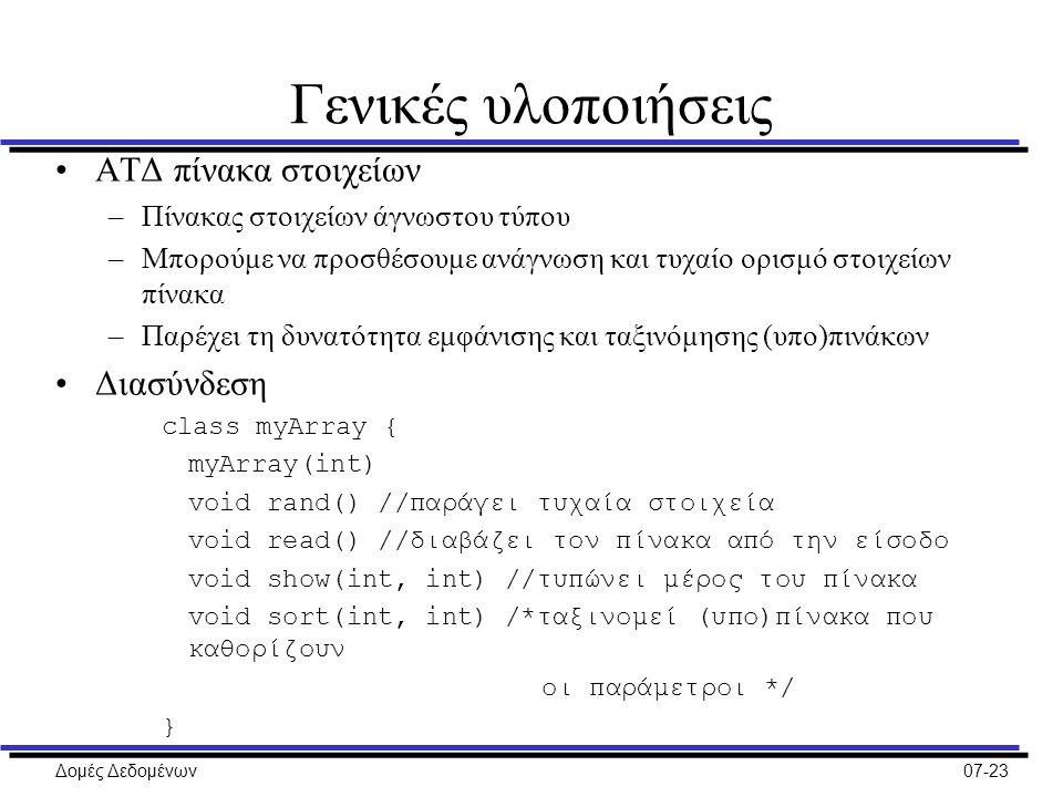 Δομές Δεδομένων07-23 Γενικές υλοποιήσεις ΑΤΔ πίνακα στοιχείων –Πίνακας στοιχείων άγνωστου τύπου –Μπορούμε να προσθέσουμε ανάγνωση και τυχαίο ορισμό στοιχείων πίνακα –Παρέχει τη δυνατότητα εμφάνισης και ταξινόμησης (υπο)πινάκων Διασύνδεση class myArray { myArray(int) void rand() //παράγει τυχαία στοιχεία void read() //διαβάζει τον πίνακα από την είσοδο void show(int, int) //τυπώνει μέρος του πίνακα void sort(int, int) /*ταξινομεί (υπο)πίνακα που καθορίζουν οι παράμετροι */ }