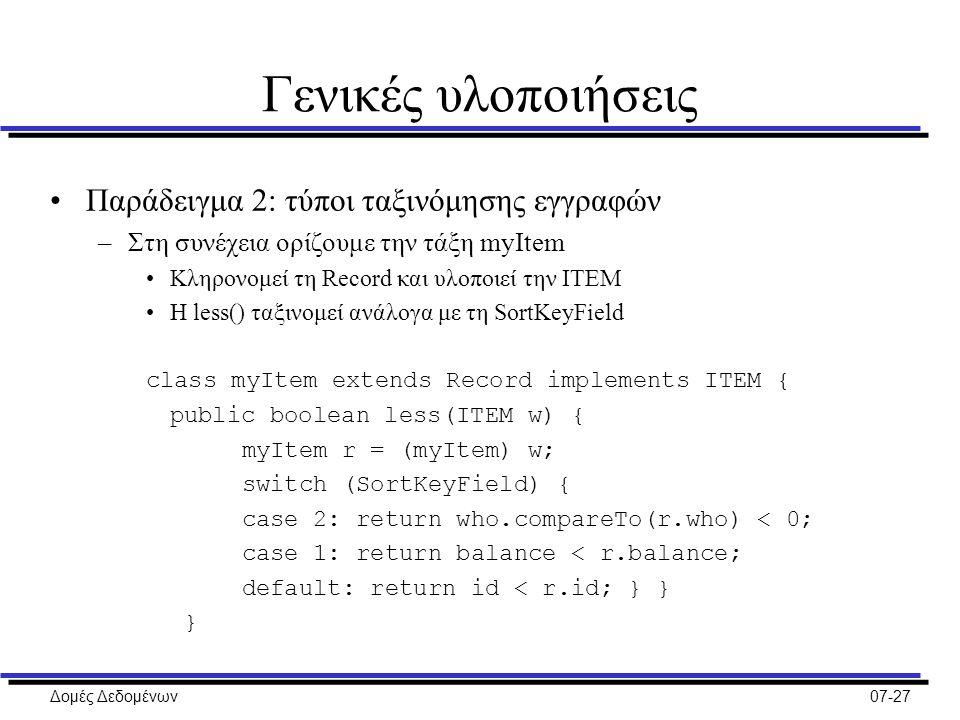 Δομές Δεδομένων07-27 Γενικές υλοποιήσεις Παράδειγμα 2: τύποι ταξινόμησης εγγραφών –Στη συνέχεια ορίζουμε την τάξη myItem Κληρονομεί τη Record και υλοποιεί την ITEM Η less() ταξινομεί ανάλογα με τη SortKeyField class myItem extends Record implements ITEM { public boolean less(ITEM w) { myItem r = (myItem) w; switch (SortKeyField) { case 2: return who.compareTo(r.who) < 0; case 1: return balance < r.balance; default: return id < r.id; } } }
