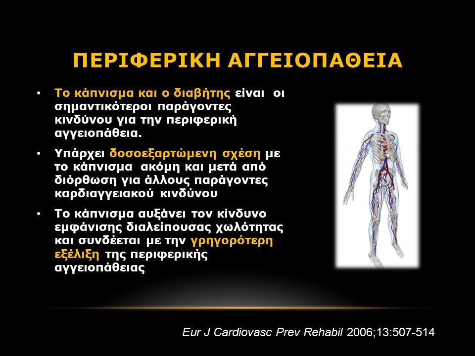 Το κάπνισμα και ο διαβήτης είναι οι σημαντικότεροι παράγοντες κινδύνου για την περιφερική αγγειοπάθεια.
