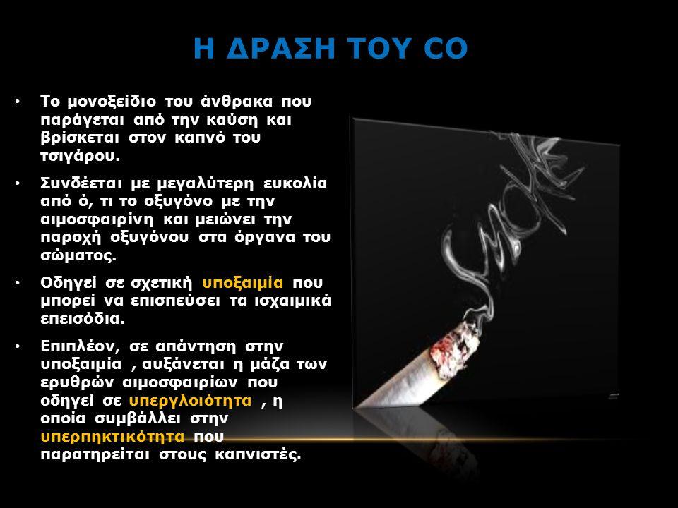 Η ΔΡΑΣΗ ΤΟΥ CO Το μονοξείδιο του άνθρακα που παράγεται από την καύση και βρίσκεται στον καπνό του τσιγάρου.