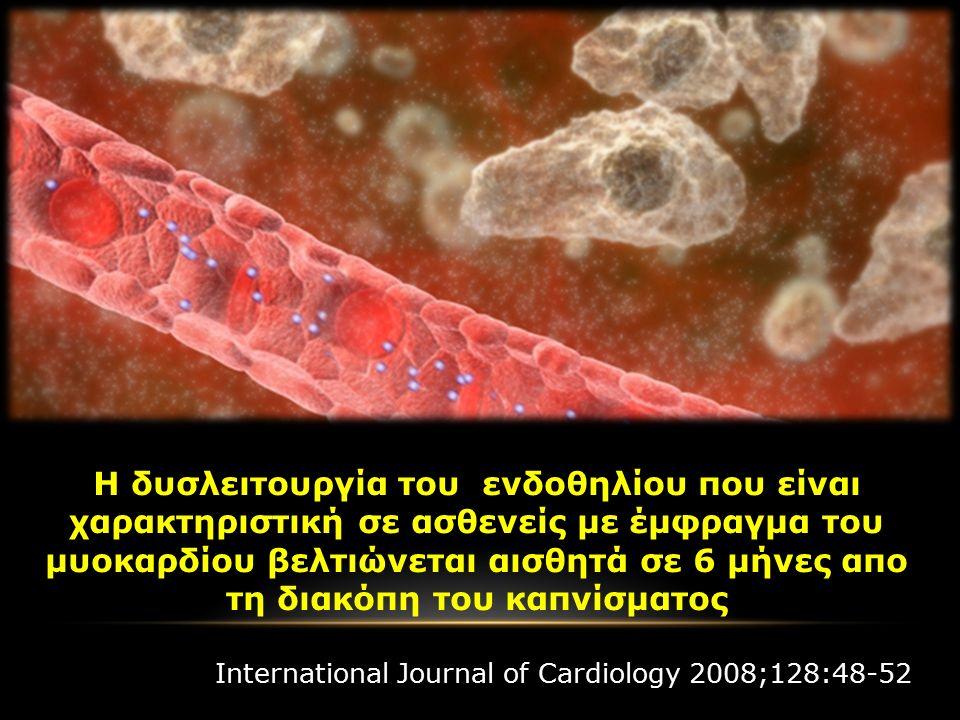 Η δυσλειτουργία του ενδοθηλίου που είναι χαρακτηριστική σε ασθενείς με έμφραγμα του μυοκαρδίου βελτιώνεται αισθητά σε 6 μήνες απο τη διακόπη του καπνίσματος International Journal of Cardiology 2008;128:48-52