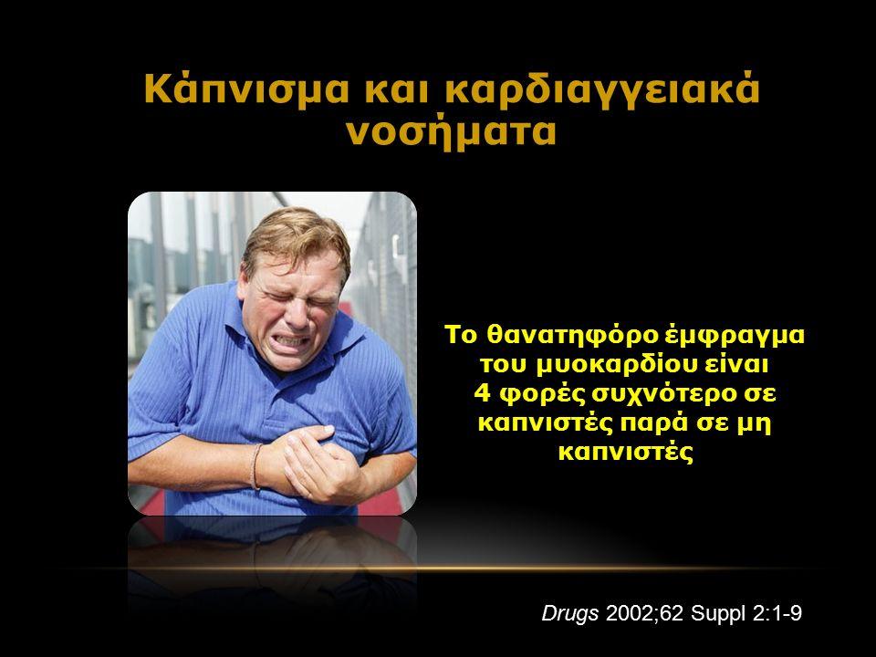 Το θανατηφόρο έμφραγμα του μυοκαρδίου είναι 4 φορές συχνότερο σε καπνιστές παρά σε μη καπνιστές Κάπνισμα και καρδιαγγειακά νοσήματα Drugs 2002;62 Suppl 2:1-9