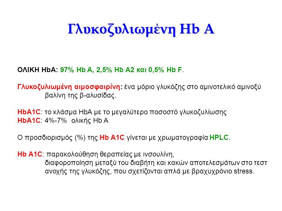 Γλυκοζυλιωμένη Hb A ΟΛΙΚΗ HbA: 97% Hb A, 2,5% Hb A2 και 0,5% Hb F. Γλυκοζυλιωμένη αιμοσφαιρίνη: ένα μόριο γλυκόζης στο αμινοτελικό αμινοξύ βαλίνη της