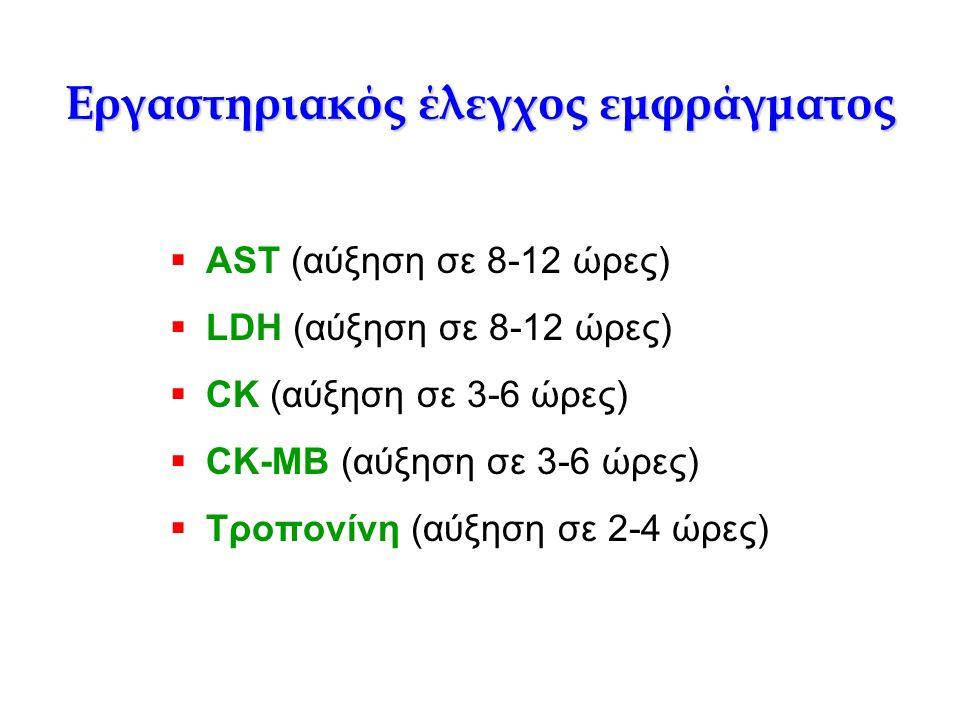 Εργαστηριακός έλεγχος εμφράγματος  AST (αύξηση σε 8-12 ώρες)  LDH (αύξηση σε 8-12 ώρες)  CK (αύξηση σε 3-6 ώρες)  CK-MB (αύξηση σε 3-6 ώρες)  Τρο