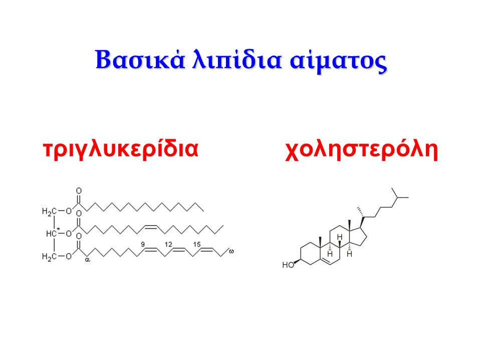 Τριγλυκερίδια Τα τριγλυκερίδια αποτελούνται από ένα μόριο γλυκερόλης, ενωμένο με τρία μόρια ανώτερων λιπαρών οξέων.