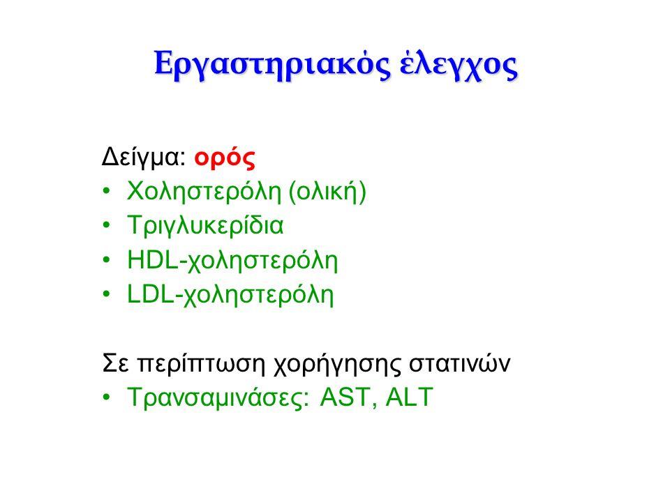 Εργαστηριακός έλεγχος Δείγμα: ορός Χοληστερόλη (ολική) Τριγλυκερίδια HDL-χοληστερόλη LDL-χοληστερόλη Σε περίπτωση χορήγησης στατινών Τρανσαμινάσες: AST, ALT