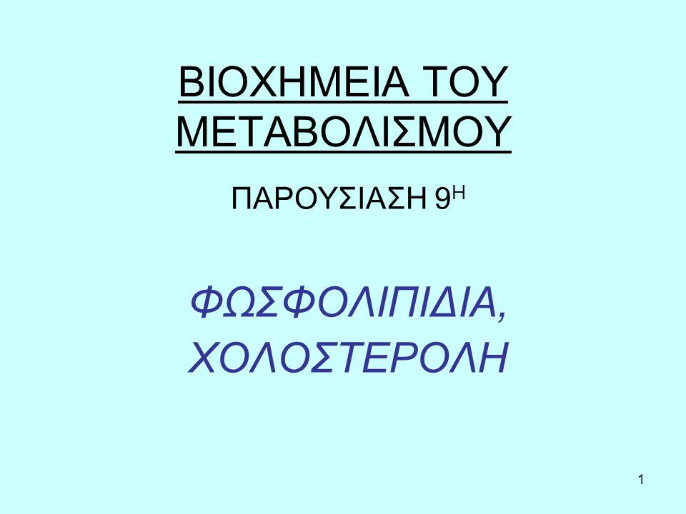 32 Ρύθμιση της χοληστερόλης του πλάσματος Η συγκέντρωση της χοληστερόλης στο αίμα εξαρτάται από: 1.τη σύνθεση (περίπου 800mg ημερησίως).