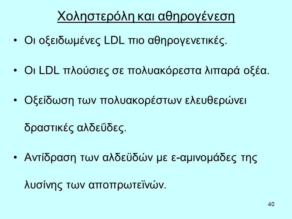 40 Χοληστερόλη και αθηρογένεση Οι οξειδωμένες LDL πιο αθηρογενετικές.