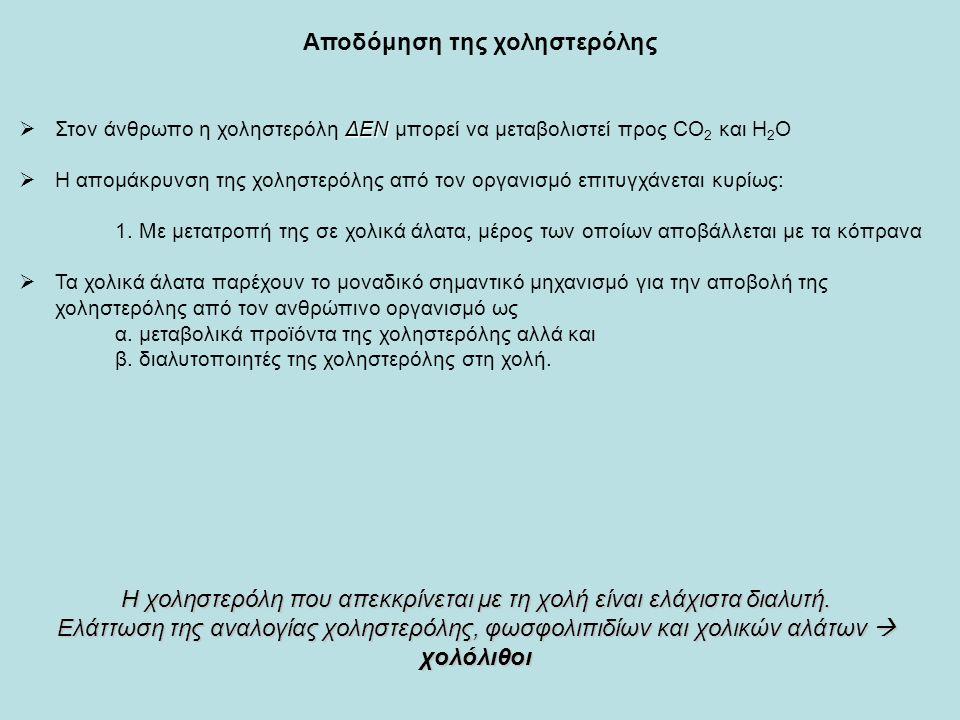 Αποδόμηση της χοληστερόλης ΔΕΝ  Στον άνθρωπο η χοληστερόλη ΔΕΝ μπορεί να μεταβολιστεί προς CO 2 και Η 2 Ο  H απομάκρυνση της χοληστερόλης από τον οργανισμό επιτυγχάνεται κυρίως: 1.